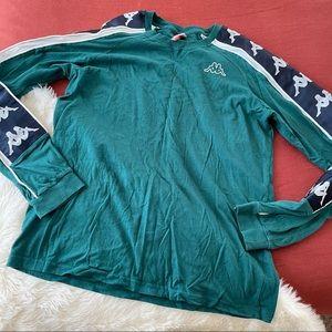 Kappa long sleeve logo green and blue tee sz.XL